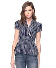 polka dot top blouse navy