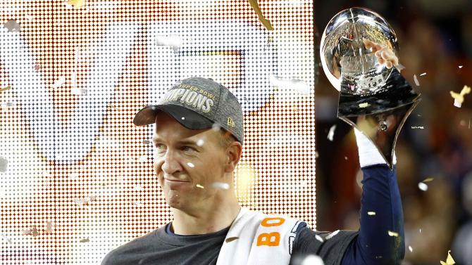 Denver Broncos' quarterback Peyton Manning holds trophy after Super Bowl 50 football game in Santa Clara