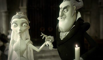Victoria Everglot (voiced by Emily Watson ) and Barkis Bittern (voiced by Richard E. Grant ) in Warner Bros. Pictures' stop-motion animated film Tim Burton's Corpse Bride