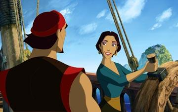 Brad Pitt is the voice of Sinbad and Catherine Zeta-Jones is the voice of Marina in DreamWorks' Sinbad: Legend of the Seven Seas