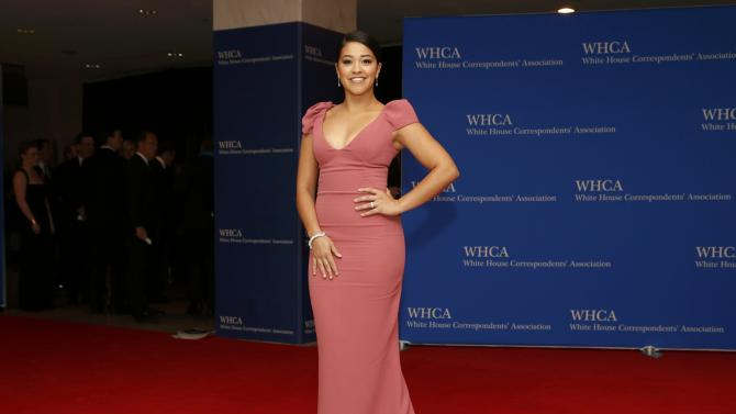 Actress Gina Rodriguez arrives for the annual White House Correspondents' Association dinner in Washington