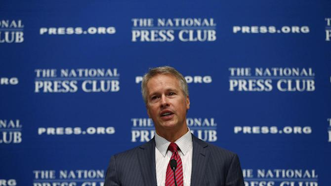 Gary Pruitt, president and chief executive officer of the Associated Press speaks at the National Press Club (NPC) in Washington, Wednesday, June 19, 2013. Pruitt, addressed a luncheon at the NPC and spoke about how the Justice Department violated its own rules in subpoenaing AP phone records. (AP Photo/Charles Dharapak)