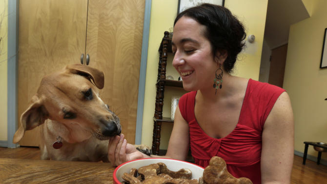"In this Saturday, Dec. 15, 2012 photo, New York pet columnist for the magazine ""Everyday with Rachael Ray,"" Sarah Zorn, gives her dog Rowdy one of her gingerbread holiday dog biscuits, during a photo session in her home in Brooklyn, N.Y.  (AP Photo/Richard Drew)"