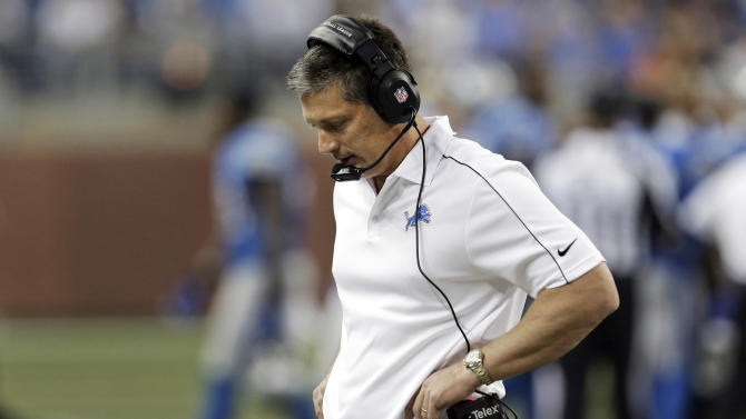 Detroit Lions head coach Jim Schwartz looks down  the second half of an NFL football game against the Houston Texans in in Detroit, Thursday, Nov. 22, 2012. Schwartz threw a challenge flag when Houston's Justin Forsett scored on an 81-yard touchdown run in the third quarter. Replays showed Forsett was down near midfield, but Schwartz negated the automatic review by challenging the play and was called for unsportsmanlike conduct. Houston won 34-31 in overtime. (AP Photo/Paul Sancya)