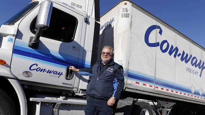 """IMAGE DISTRIBUTED FOR CON-WAY FREIGHT - Con-way Freight's James """"Jackpot"""" Sutfin reaches three million accident-free miles on Monday, Feb. 11, 2013 in North Las Vegas, Nev. (Isaac Brekken / AP Images for Con-way Freight)"""
