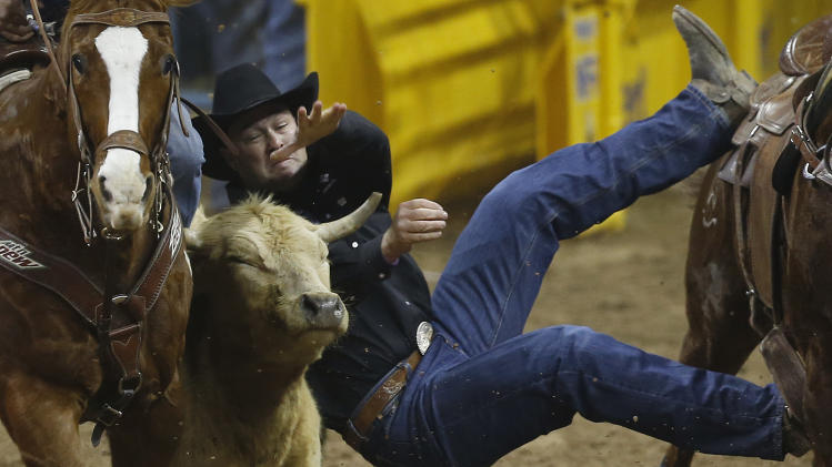 Billy Bugenig of Ferndale, Calif. misses as he drops down to grab a steer during the 10th go-round of the National Finals Rodeo, Saturday, Dec. 15, 2012, in Las Vegas. (AP Photo/Julie Jacobson)
