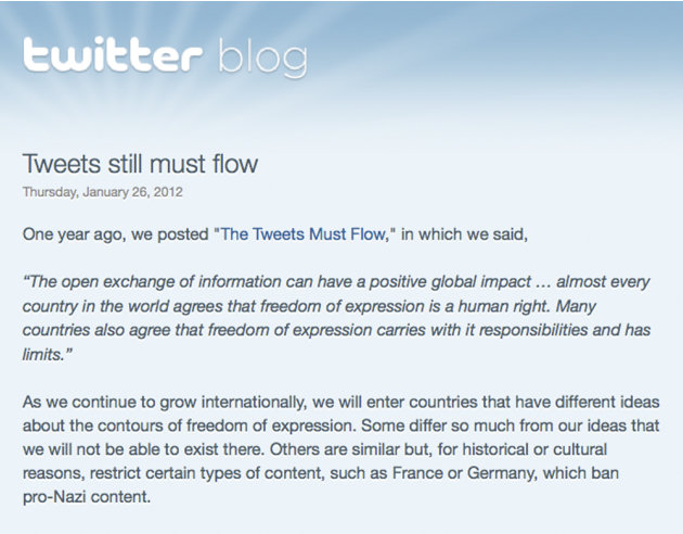 This screen shot shows a portion of the Twitter blog post of Thursday, Jan. 26, 2012, in which the company announced it has refined its technology so it can censor messages on a country-by-country bas