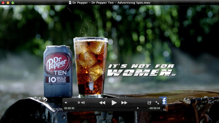 CORRECTS CREDIT FOR IMAGE TO THE DR PEPPER SNAPPLE GROUP, NOT THE DUBLIN DR PEPPER BOTTLING CO. - This video frame grab provided by the Dr Pepper Snapple Group, shows the new Dr Pepper TEN beverage. It's not often that a major brand tries to block out an entire segment of the population, but that's exactly what Dr Pepper is doing with the launch of its latest product, Dr Pepper TEN. (AP Photo/Dr Pepper Snapple Group)