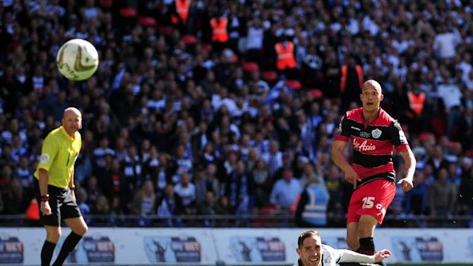 QPR's English striker Bobby Zamora scores the winning goal during the English Championship Play Off final football match between Derby County and Queens Park Rangers at Wembley Stadium in London on May 24, 2014