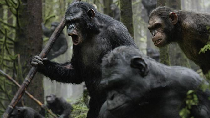 "This photo released by Twentieth Century Fox Film Corporation shows Toby Kebbell, as Koba, leading a battle in a scene from the film, ""Dawn of the Planet of the Apes."" (AP Photo/Twentieth Century Fox Film Corporation)"