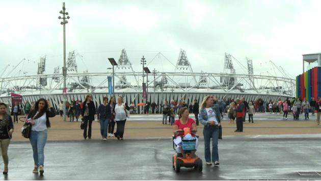 Spectators arrive in Olympic Park for day one of competition