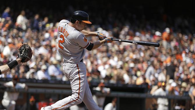 Hardy, Jones homer as Orioles pound Giants, 10-2