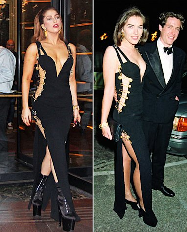 Lady Gaga in October 2012, Elizabeth Hurley in May 1994