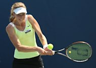Mona Barthel, pictured last month, surprised defending champion Barbora Zahlavova Strycova cruising to victory in straight sets 6-3, 6-4 in the quarter-finals of the WTA Tour's Bell Challenge tournament