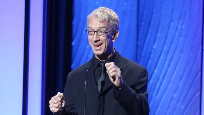 """FILE - This Nov. 15, 2012 file photo shows comedian Andy Dick speaks onstage during the American Cinematheque 26th Annual Award Presentation To Ben Stiller 2012 in Beverly Hills, Calif. Andy Dick  is one of eleven celebrity contestants who will compete on the next edition of """"Dancing with the Stars."""" The new season kicks off on ABC with a two-hour premiere on March 18. (Photo by Todd Williamson/Invision/AP, file)"""