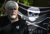 "Paul Watson, founder and president of the Sea Shepherd Conservation Society, pictured during a demonstration in Berlin, on May 23, 2012. Watson says year 2013 would likely see the lowest haul by the Japanese whalers in history, with ""no more than 75"" of the mammals killed due to the group's efforts"
