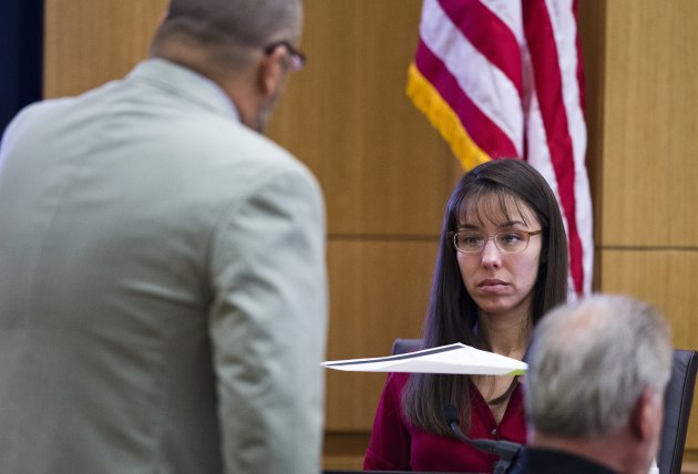 Defense attorney Kirk Nurmi asks Jodi Arias a question in Maricopa County Superior Court in Phoenix