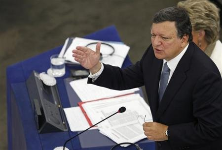European Commission President Barroso answers members of the European Parliament remarks at the end of a debate on the state of union in Strasbourg