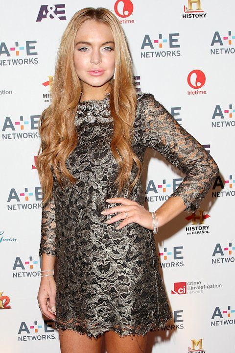 In this May 9, 2012 photo shows actress Lindsay Lohan at the A&E Networks 2012 Upfront at Lincoln Center in New York. Lohan will star as Elizabeth Taylor in the upcoming Lifetime TV movie