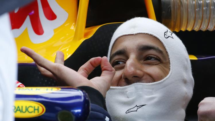 Red Bull Racing Formula One driver Ricciardo gestures during a practice session at the Belgian F1 Grand Prix in Spa-Francorchamps