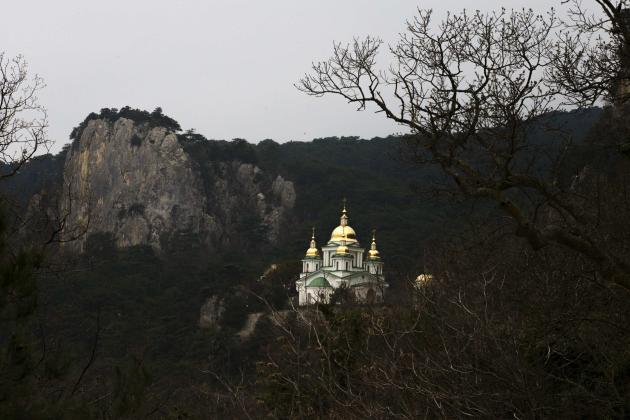 General view shows the St. Michael the Archangel Church in the hills overlooking the Crimean town of Yalta