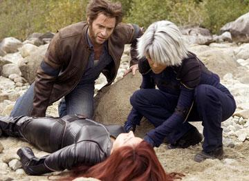 Hugh Jackman as Wolverine, Halle Berry as Storm and Famke Janssen as Jean Grey in 20th Century Fox's X-Men: The Last Stand