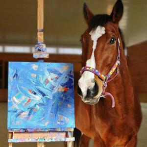 Retired racehorse's paintings bring in the cash