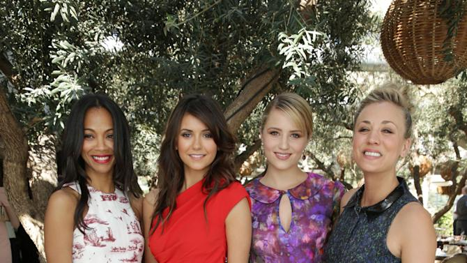 Zoe Saldana, Nina Dobrev, Dianna Agron and Kaley Cuoco at The Hollywood Reporter and Jimmy Choo Celebration of the Most Powerful Stylists in Hollywood, on Wednesday, March, 13, 2013 in Los Angeles. (Photo by Eric Charbonneau/Invision for The Hollywood Reporter/AP Images)