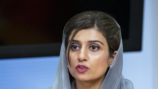 Pakistani Foreign Minister Hina Rabbani Khar, speaks to the Associated Press during an interview in Washington, Thursday, Sept. 20, 2012.  (AP Photo/Manuel Balce Ceneta)