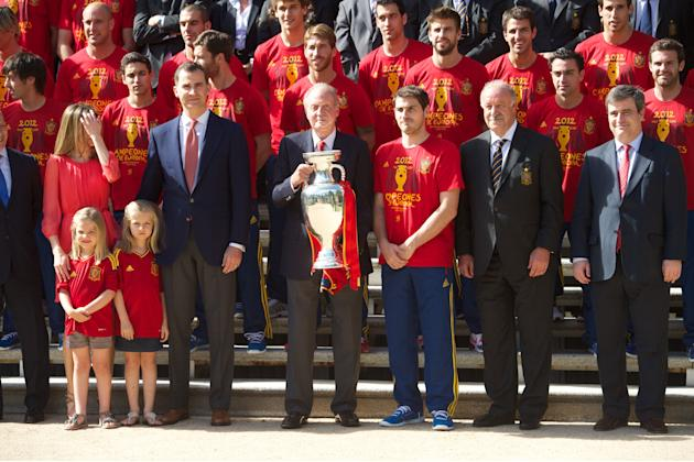 King Juan Carlos Of Spain Receives The Victorious Spain Team