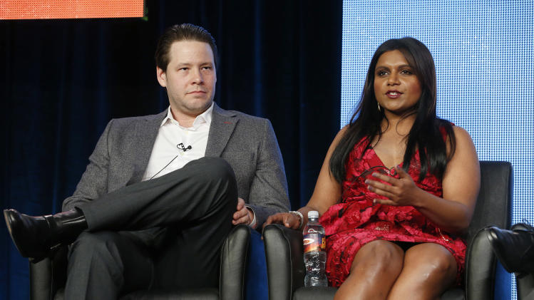 Ike Barinholtz and Mindy Kaling attend the Fox Winter TCA Tour at the Langham Huntington Hotel on Tuesday, Jan. 8, 2013, in Pasadena, Calif. (Photo by Todd Williamson/Invision/AP)
