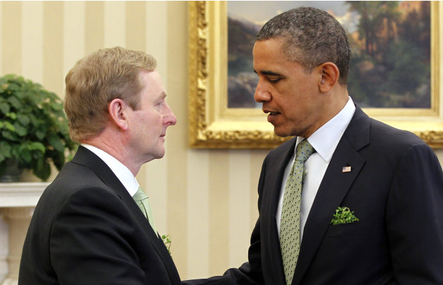 President Barack Obama talks with Irish Prime Minister Enda Kenny in the Oval Office of the White House in Washington, Tuesday, March, 20, 2012. (AP Photo/Pablo Martinez Monsivais)
