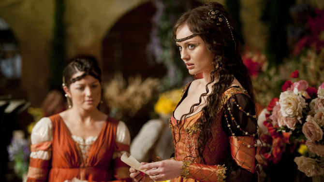 """This publicity image released by Starz shows Laura Haddock as Lucrezia Donati in a scene from """"Da Vinci's Demons,"""" premiering Friday, April 12 at 10 p.m. EST on Starz. (AP Photo/Starz Entertainment, LLC, Ollie Upton)"""