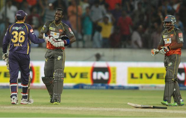SRH allrounder Darren Sammy and Biplab Samantray celebrates win during the match between Sunrisers Hyderabad and Kolkata Knight Riders at Rajiv Gandhi International Cricket Stadium Uppal in Hyderabad