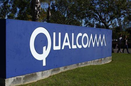 A Qualcomm sign is pictured in front of one of its many buildings in San Diego, California