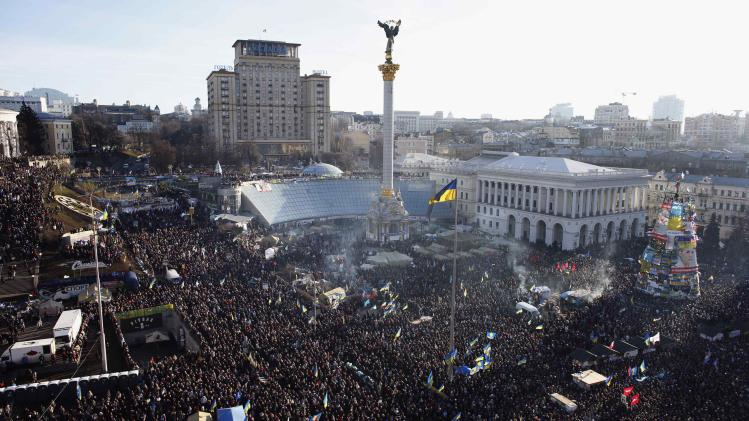General view of pro-European integration protesters gathering for mass rally at Independence square in Kiev