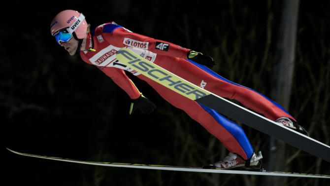 Dawid Kubacki of Poland soars in the air during FIS Ski Jumping World Cup competition in Trondheim