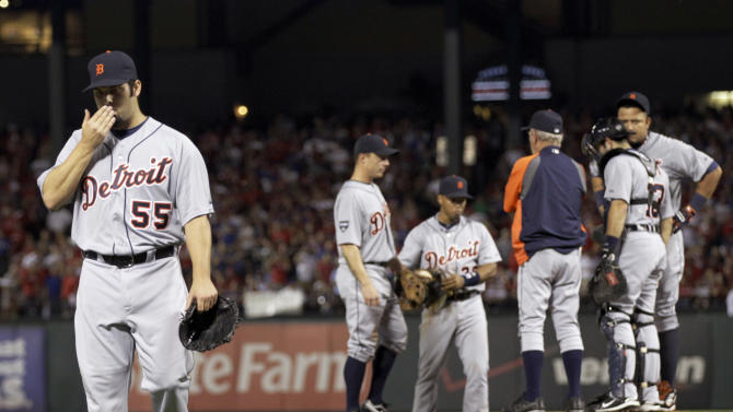 The Detroit Tigers' Daniel Schlereth walks to the dugout after being taken out of the game during the third inning of  Game 6 of baseball's American League championship series against the Texas Rangers, Saturday, Oct. 15, 2011, in Arlington, Texas. (AP Photo/Paul Sancya)