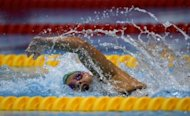South Africa's Natalie du Toit competes during the Women's 400 metres freestyle final S9 category during the London 2012 Paralympic Games. Du Toit claimed her 12th Paralympic swimming gold