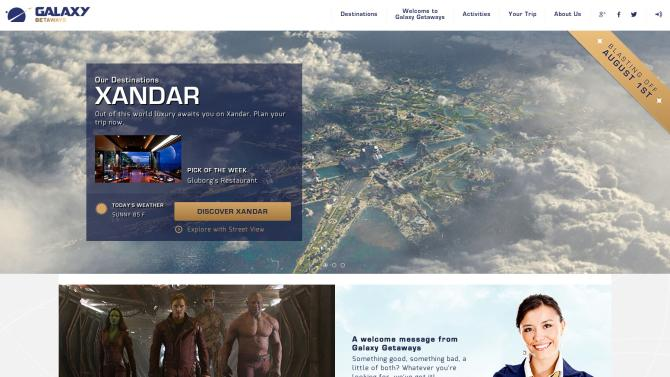 "Marvel has created a website for a fictional space travel agency to promote ""Guardians of the Galaxy."""