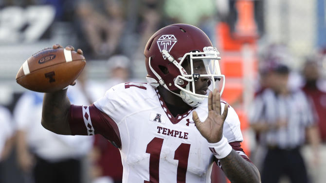 Temple quarterback P.J. Walker (11) looks for a receiver in the first half of an NCAA college football game against Central Florida in Orlando, Fla., Saturday, Oct. 25, 2014. (AP Photo/John Raoux)