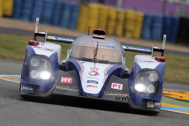 The Toyota TS-030 No7 driven by Alexander Wurz of Austria, Nicolas Lapierre of France and Kazuki Nakajima of Japan is seen in action during the free practice session of the 90th 24-hour Le Mans endura