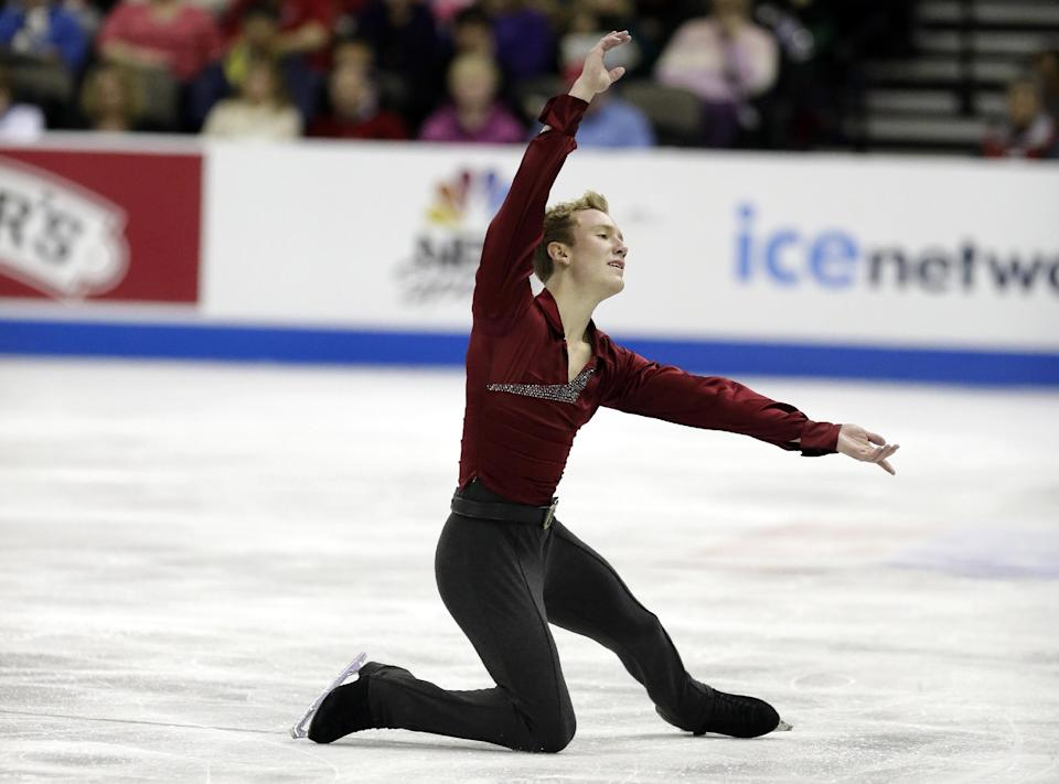 Ross Miner competes during the senior mens free skate program at the U.S. figure skating championships, Sunday, Jan. 27, 2013, in Omaha, Neb. (AP Photo/Charlie Neibergall)