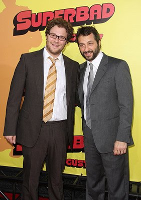 Writer/producer Seth Rogen and producer Judd Apatow at the Los Angeles premiere of Columbia Pictures' Superbad