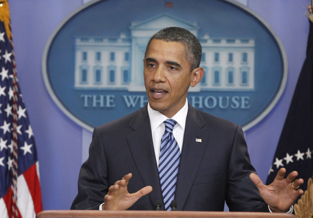 President Barack Obama makes a statement to reporters about debt ceiling negotiations, Tuesday, July 5, 2011, in the James Brady Press Briefing Room of the White House in Washington. (AP Photo/Charles