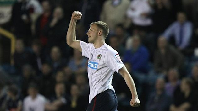 Blackburn Rovers' Jordan Rhodes celebrates scoring their second goal (PA Photos)