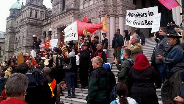 Protesters gathered on the steps of the B.C. Legislature on Monday to protest the Northern Gateway Pipeline proposal.