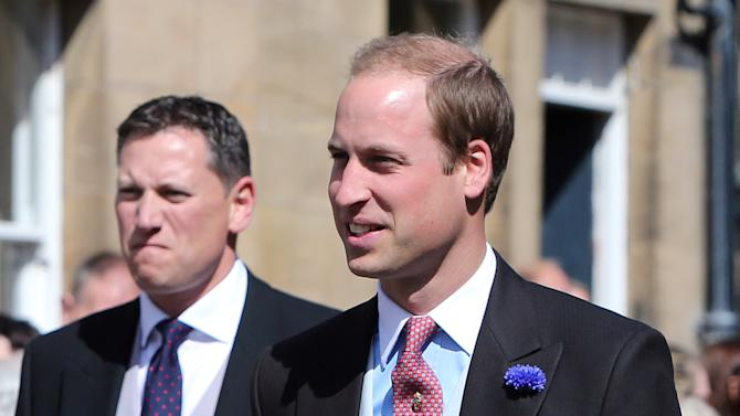 Britain's Prince William arrives at the wedding of the Duke and Duchess of Northumberland's daughter Lady Melissa Percy to chartered surveyor Thomas van Straubenzee at St Michael's Church in Alnwick, England, Saturday, June 22, 2013. (AP Photo/Scott Heppell)