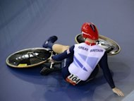 Great Britain's Philip Hindes is pictured after falling down during the Men's team sprint qualifying round as part of the track cycling event of London 2012 Olympic games, at the ExCel centre in London