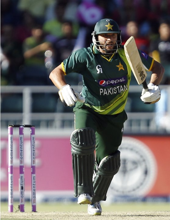 Pakistan's Shahid Afridi makes a run during their third One Day International (ODI) cricket match against South Africa in Johannesburg